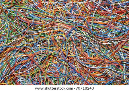 Colorful cable of computer and internet network