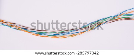 Colorful cable wires on isolated white background