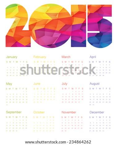 Colorful Calendar 2015 Design. Raster version - stock photo