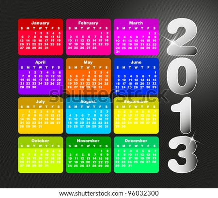 Colorful calendar for 2013. Week starts on sunday - stock photo
