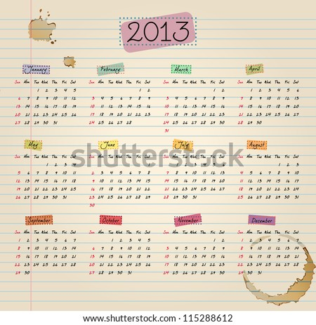 Colorful 2013 Calendar in vintage style. Weeks start with Sunday. - stock photo