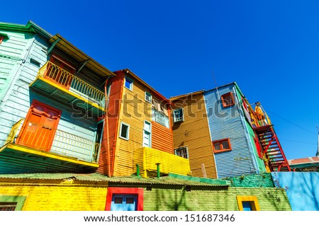 Colorful Caminito street in the La Boca neighborhood of Buenos Aires - stock photo