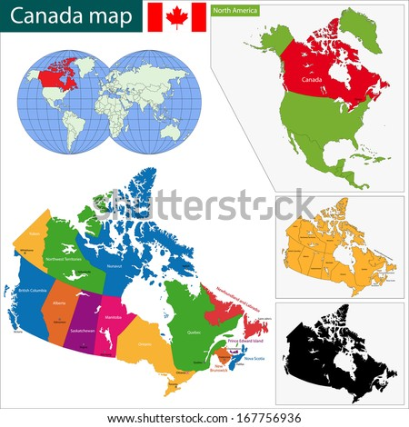 Colorful Canada map with provinces and capital cities - stock photo
