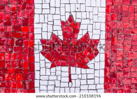Colorful Canadian flag mosaic  - stock photo