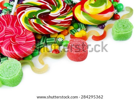 Colorful candies isolated on white