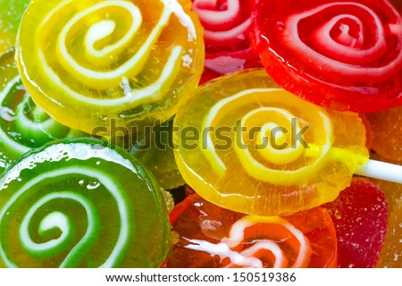 Colorful candies lollipop as texture close-up - stock photo