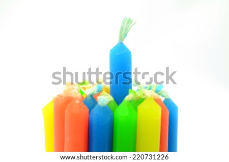 colorful candles isolated on white