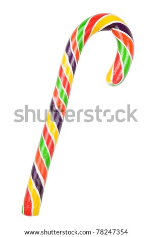 colorful candy cane with clipping path - stock photo