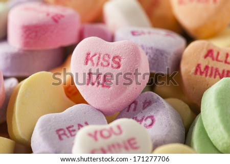 Colorful Candy Conversation Hearts for Valentine's Day - stock photo
