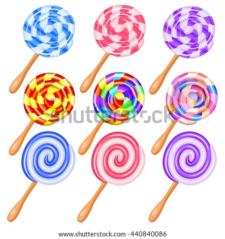 Colorful candy lollipops set of icons - the vortex of lollipops vector illustration. - stock photo
