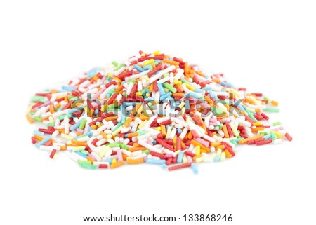 Colorful candy sprinkles isolated on white background - stock photo