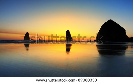 Colorful  Cannon Beach Sunset - stock photo