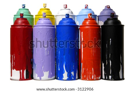 colorful cans of spray paint on a white background - stock photo