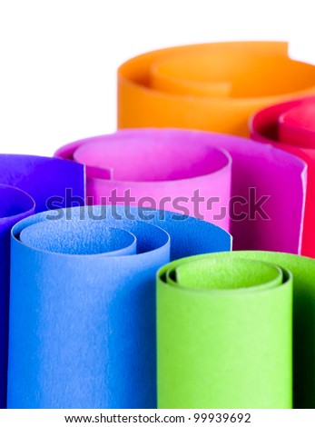 Colorful card stock in unique circular shapes  for decorating in the living room - stock photo
