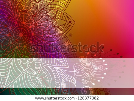 Colorful card with translucent white stripe and vintage flowers - stock photo