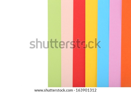 Colorful cardboard on white background