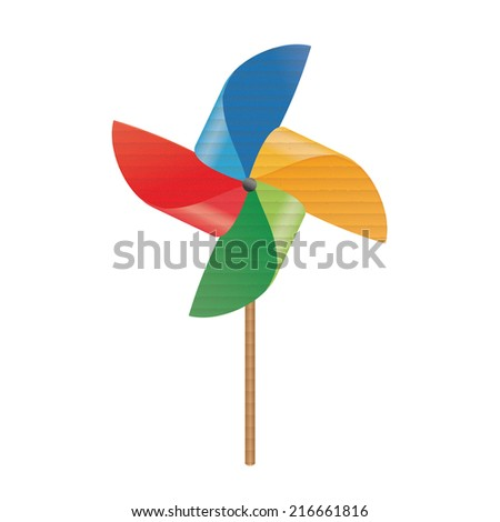 Colorful cardboard pinwheel - stock photo