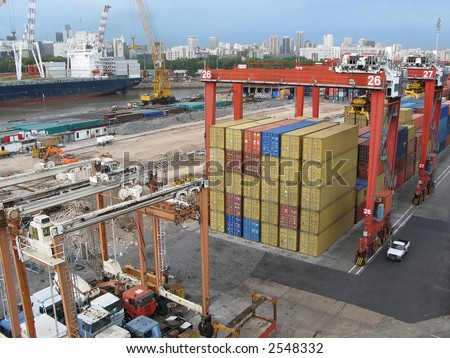 Colorful cargo containers at the shipping port - stock photo