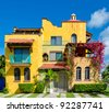 Colorful caribbean tropical style house. Playa Del Carmen, Mexico. - stock photo