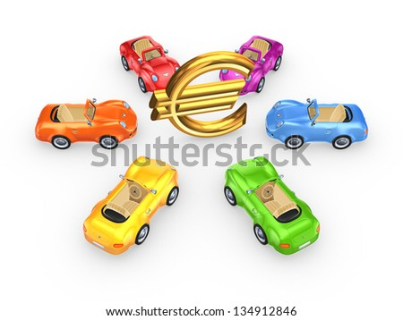 Colorful cars around euro sign.Isolated on white background.3d rendered. - stock photo