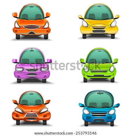 Colorful cartoon cars front view illustration - stock photo
