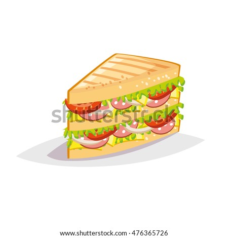 Colorful cartoon fast food icon on white background. Sandwich with salami and cheese. Rasterized Copy