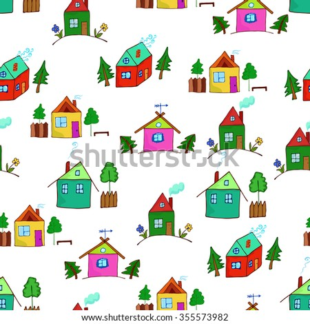 Colorful cartoon houses collection. Illustration of the different houses. Collection of cute houses in a whimsical childlike style. Seamless pattern for design or scrapbook.