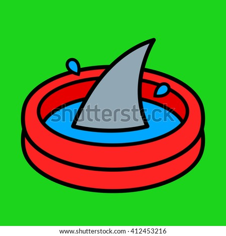Colorful cartoon paddling pool with a shark fin rising above the water over a bright green background in a conceptual illustration for kids - stock photo