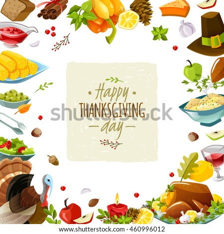 Colorful cartoon poster for thanksgiving day. Happy thanksgiving day. illustration