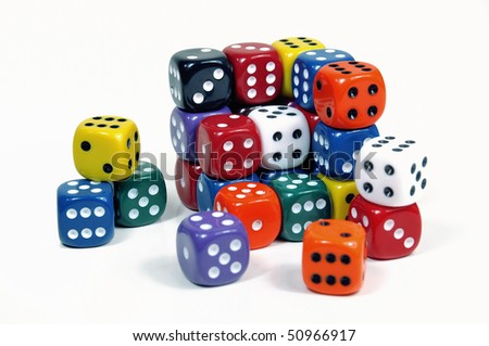 Colorful casino dices on white background