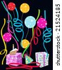 colorful celebration illustration with balloons, streamers, presents, cake - stock photo
