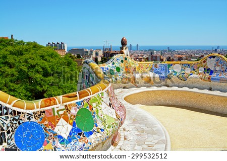 Colorful ceramic bench in famous Park Guell, Barcelona, Spain. - stock photo