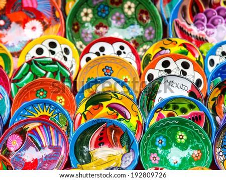 Colorful ceramic for sale at Chichen-Itza, Mexico - stock photo