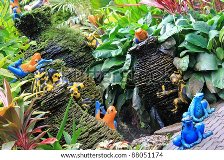 Colorful Ceramic Frogs And Mini Pottery Fountain Decorating At The Tropical  Garden, Thailand