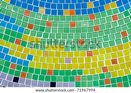 colorful ceramic wall in Thai temple - stock photo