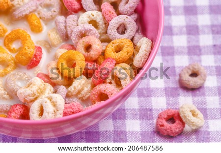 Colorful cereals in a bowl, closeup - stock photo