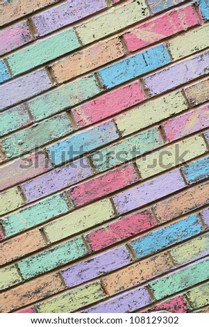 Colorful chalk wall created by children at school with pastel colors