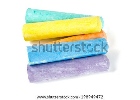 colorful chalks isolated on white - stock photo