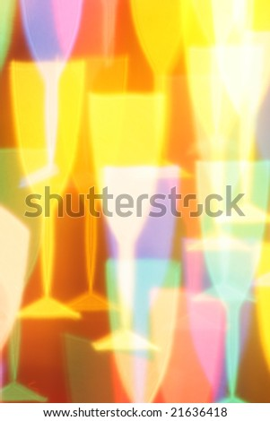 Colorful champagne glasses bokeh, may be used as background