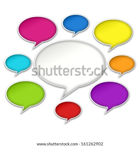 Colorful chat bubbles conversation isolated on white background - stock photo