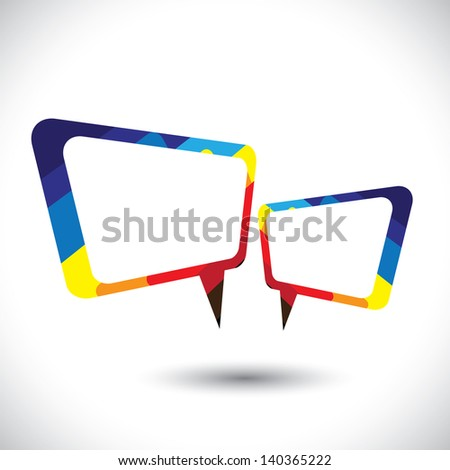 Colorful chat icon or speech bubble symbol. This colorful graphic illustration also represents tete-a-tete between two people, gossip, intimate conversation, etc