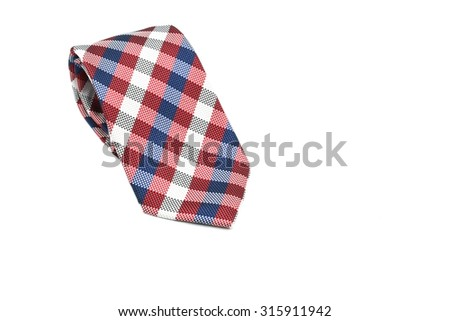 Colorful checkered silk men tie isolated on white background, ample space for text message