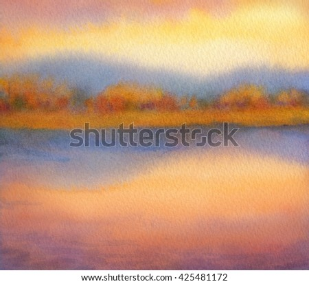 Colorful cheerful handmade watercolour on paper backdrop with space for text on orange heaven. Vivid purple cumulus over light sunlit reservoir with lush bushes on horizon reflected in clear stream - stock photo