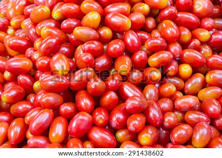 Colorful cherry tomatoes ready for sales in fresh market - stock photo