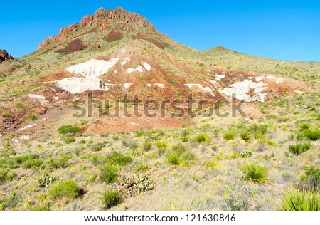 colorful Chicos Mountain range in Big Bend National Park - stock photo