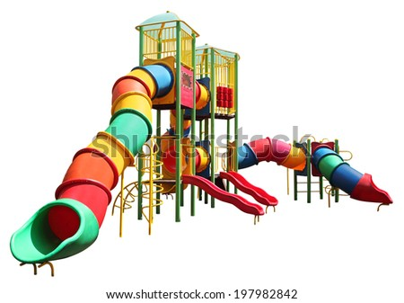 colorful children slider in playground isolated with clipping path - stock photo