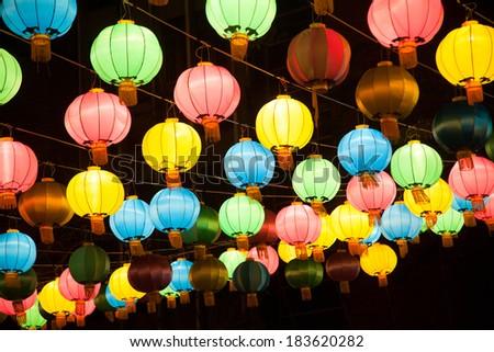 Colorful chines lanterns in Chinatown, Bamgkok - stock photo