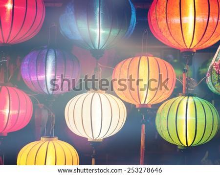colorful Chinese lanterns - stock photo