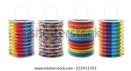 Colorful chinese lanterns - party decoration - isolated on white background. wit PS paths - stock photo