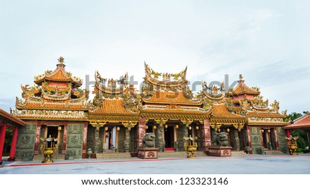 Colorful chinese temple   in Thailand. The temple open to the public to watch. And allowed to take photos in the temple. no restriction in copy or use. - stock photo